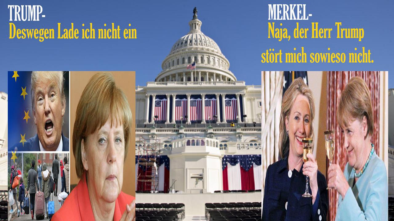 Merkel während Amtseinführung Trumps im Museum